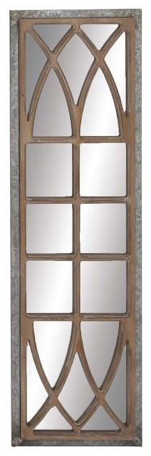 Farmhouse Wood Window-Inspired Framed Wall Mirror Decor.