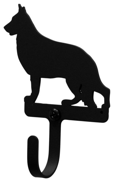 Wrought Iron German Shepard Dog Decorative Wall Hook, Small.