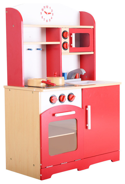 Kids Kitchen Toy Toddler Play Kitchen Playset for Kids Wooden Kitchen Playset with Kitchen Accessories for Pretend Play including Pans; Toddler Pretend Kitchen Playset; Wooden Toy for Toddlers Role Play Set for Children; Wooden Play Kit Toy Kitchen Set