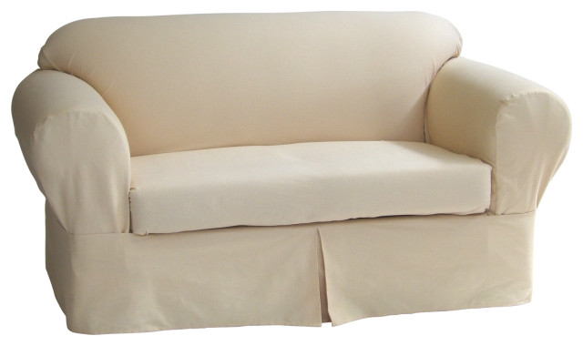 Classic Slipcover 2 Piece Twill Loveseat Slipcover Contemporary Slipcovers And Chair Covers By Ig Charcoal Bbq