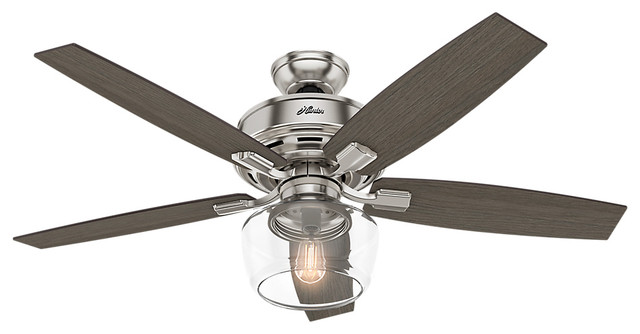 "Hunter 52"" Bennett Brushed Nickel Ceiling Fan With Light And Remote."