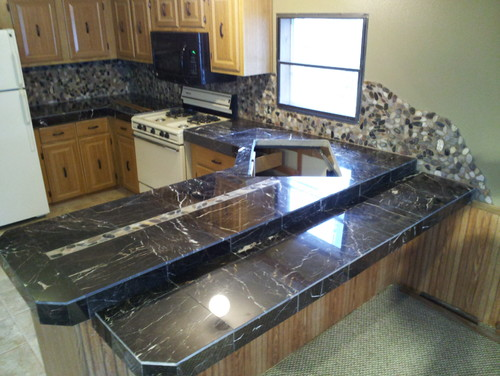 marble tile countertop. I\u0027ve Attached An Image Of The Counter Top That Was Taken Right After Installation. Marble Tile Countertop I