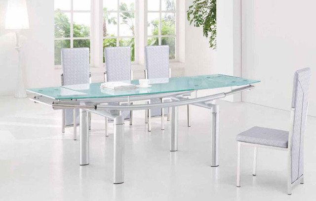 Extendable frosted glass top leather dining furniture set for Frosted glass dining table