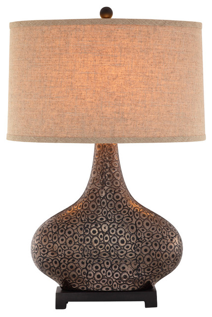 Turner 28 3-Way Embossed Ceramic Table Lamp With Bronze/gold Finish, No Bulb.