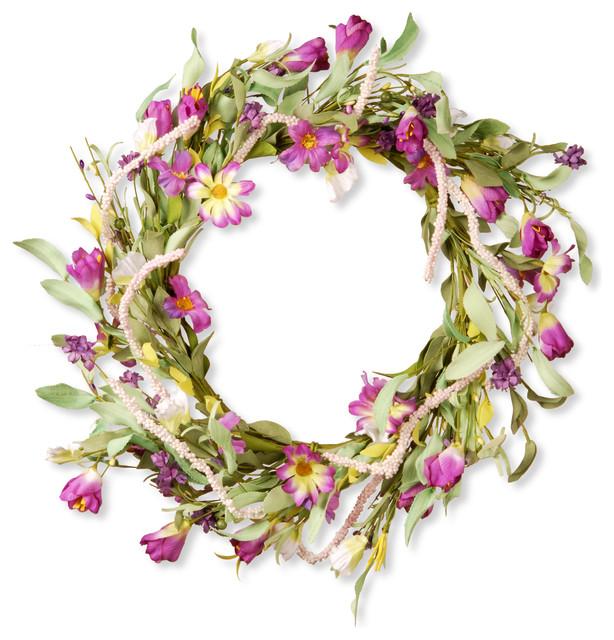 20 Floral Wreath Decor, Purple Mixed Flowers.