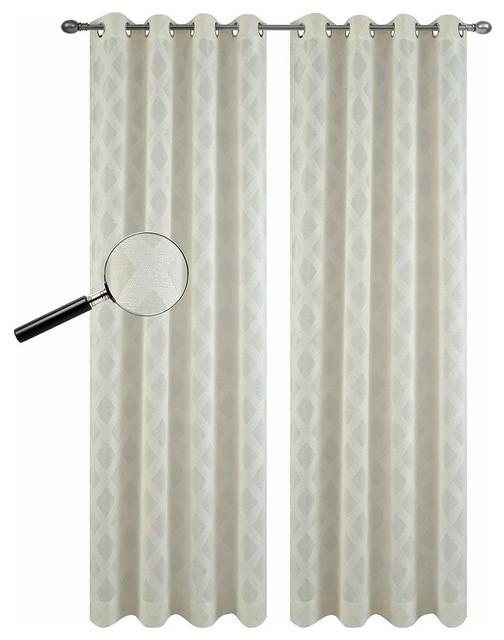 Modern Harvard Embroidered Panels Grommet Top Sheer Window Curtain Set of 2
