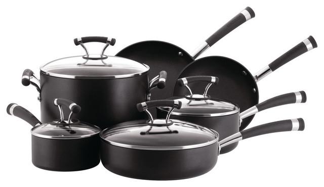 Symmetry Hard-Anodized Nonstick 10-Piece Cookware Set, Black.