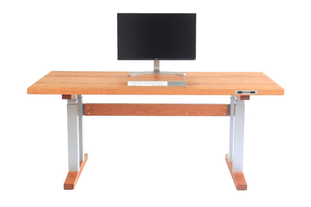 Handmade Standing Desk, Electric Adjustable Height, Solid Cherry Top    Transitional   Desks And Hutches   By Colin Daniel Designs