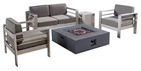Coral Bay Outdoor Aluminum Khaki Chat 5 Piece Set With Fire Table, Gray.