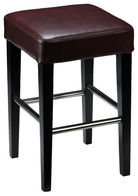 Cortesi Home Backless Counter Stool Genuine Leather Contemporary Bar Stools And