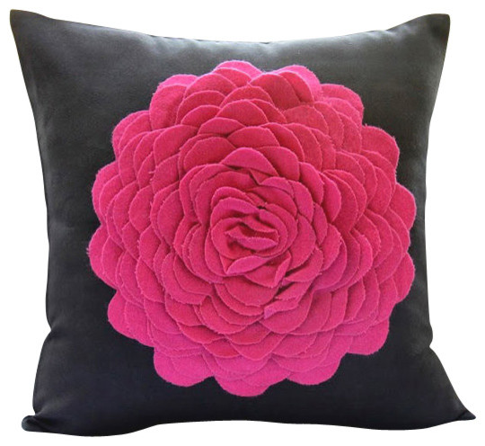 Pink Decorative Pillows : Shop Houzz The HomeCentric Hot Pink Rose, Black Faux Suede Decorative Pillowcase - Decorative ...