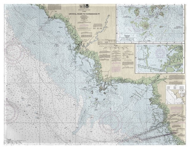Betsy Drake Crystal River to Horseshoe Point, FL Nautical Map Place Mat Set of