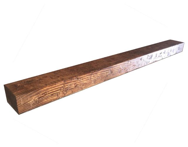"Rustic Distressed Fireplace Mantel, Medium Stain, 48""x6""x6""."