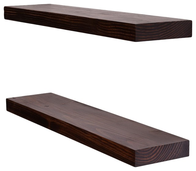 Clean Edge Floating Shelves Set Of 2 Espresso 24