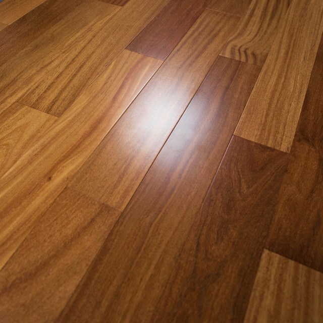 "Brazilian Teak Prefinished Solid Wood Flooring, 5""x3/4"", 1 Box."