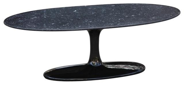 Fine Mod Imports  Flower Coffee Table Oval Marble Top, Black.