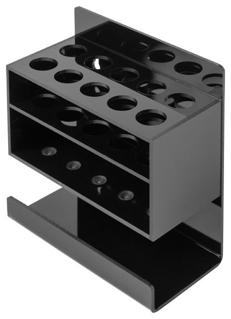 2-Tier Acrylic Dry Erase Marker And Eraser Holder, Black. -1