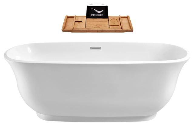 "67"" Streamline N-661-67FSWH-FM Soaking Freestanding Tub With Internal Drain"