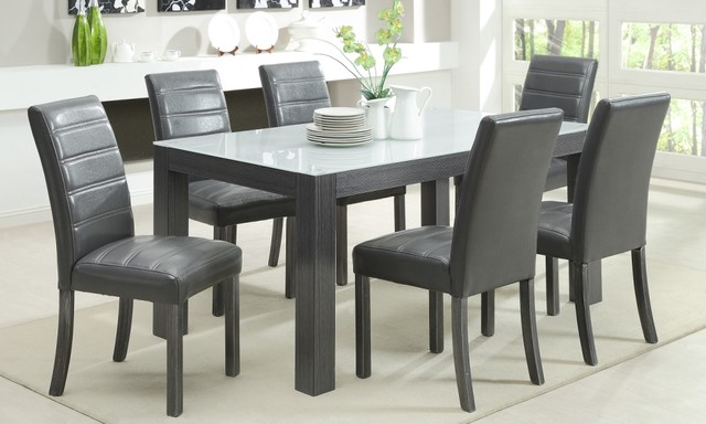 Grey Wood Dining Room Table: Tridel 7 Piece Grey Wood Dining Set