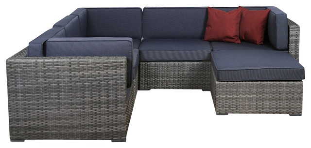 Bellagio 6 Piece Grey Wicker Seating Set With Cushions