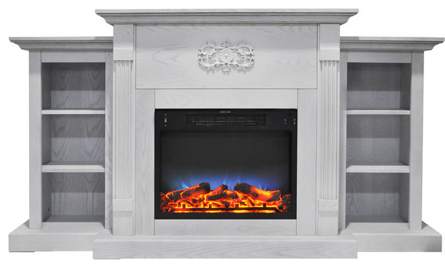 "Sanoma 72"" Electric Fireplace, White."