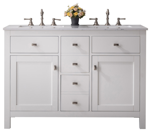 Totti Artemis 44 White Transitional Double Sink Bathroom Vanity Transitional Bathroom Vanities And Sink Consoles By Eviva Llc Houzz