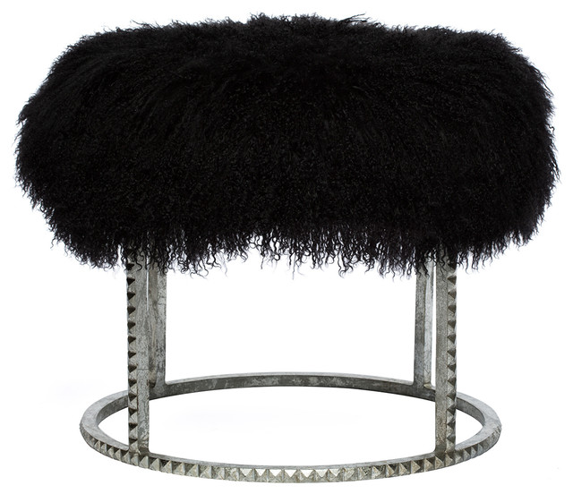 Silver Studded Coffee Table: Kathy Kuo Home Pom Pom Hollywood Regency Black Lamb Silver