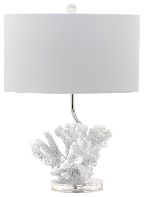 white coral bloom with crystal base table lamp beach style table lamps. Black Bedroom Furniture Sets. Home Design Ideas