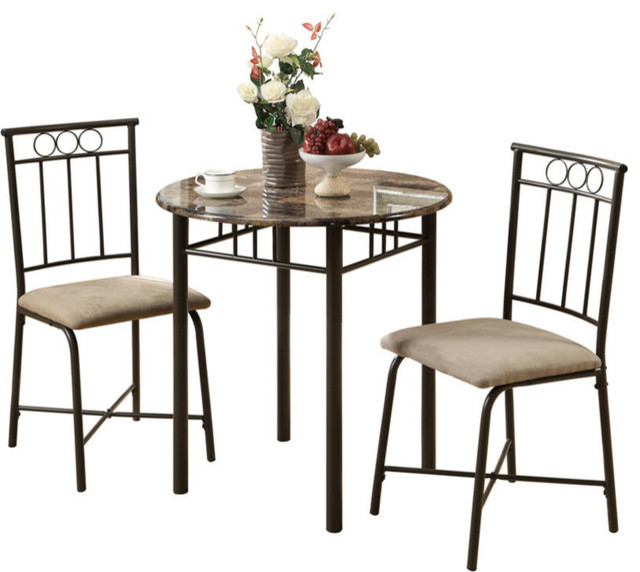 3 Piece Dining Set Cuccino Marble