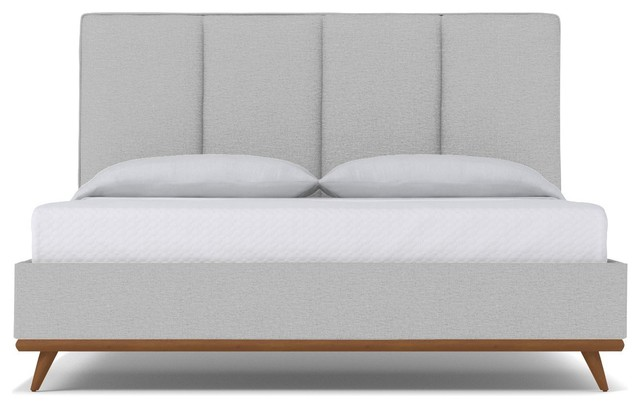 Carter Upholstered Bed, Silver, Eastern King.