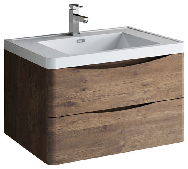 """Fresca Tuscany 32"""" Rosewood Wall Hung Bathroom Cabinet With Integrated Sink"""