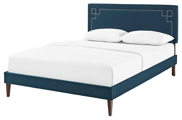Modern Contemporary Urban Full Size Platform Bed Frame, Fabric Rivet, Navy  Blue