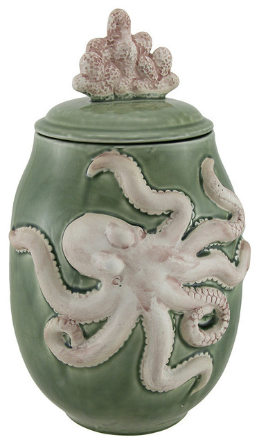 Green Ceramic Octopus Jar With Coral Lid Beach Style Kitchen Canisters And