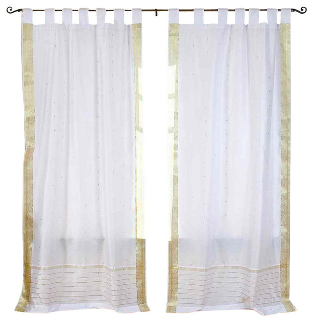 White Silver Tab Top Sheer Sari Curtain D And Panel Pair