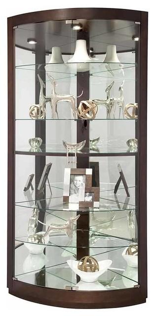 Espresso Finish Curved Glass Door Corner Curio Cabinet