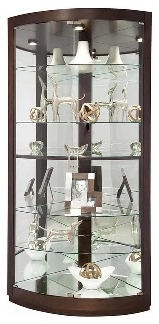 Espresso Finish Curved Glass Door Corner Curio Cabinet Transitional China Cabinets And