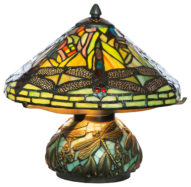 10 5 Tiffany Style Dragonfly Accent Lamp Green