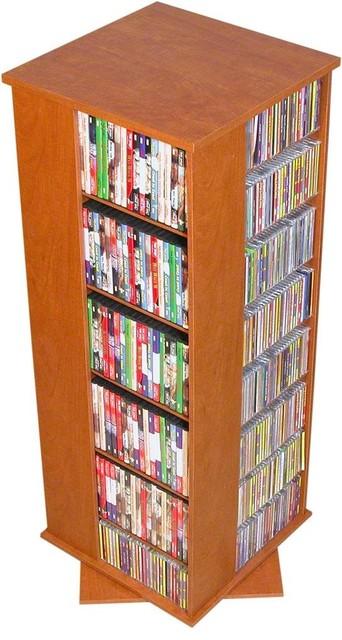 Multi-Media Storage Tower With Revolving Base, Cherry Finish.