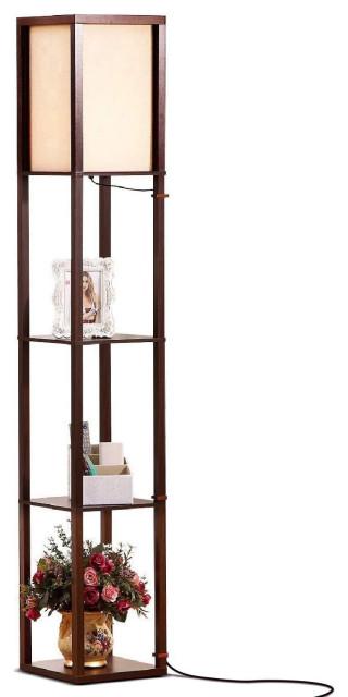 Brightech Maxwell - Modern LED Shelf Floor Lamp - Skinny End Table & Nightstand