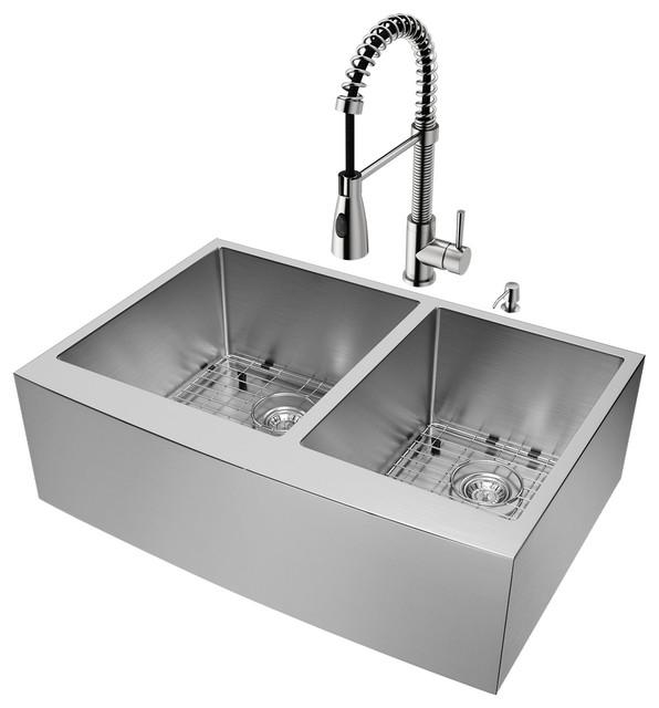 "Vigo All-In-One Bingham Stainless Steel Double Bowl Farmhouse Sink Set, 33""."