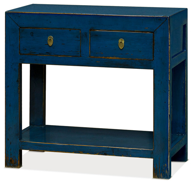 Elm Wood Chinese Console Table, Distressed Blue