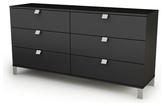 South Shore Spark 6-Drawer Double Dresser, Pure Black.