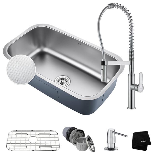"Kraus Outlast 31.5"" Kitchen Sink Set, Nola Faucet And Soap Dispenser, Chrome."