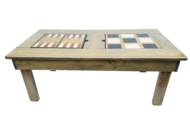 Farmhouse Coffee Table 4-Board Games, Classic Gray Stain.