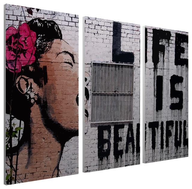 Banksy Life Is Beautiful Canvas Triptych Wall Art 48x30