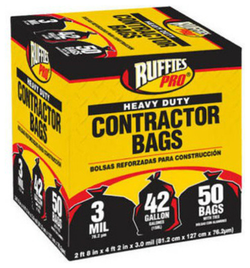 AEP Industries Heavy-Duty Contractor Clean-Up Bags 55-60 gal 3 mil 32 x 50 Black