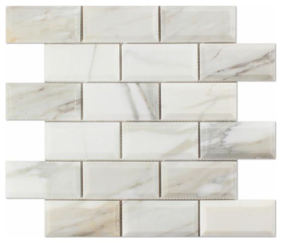 "2/"" x 4/"" Calacatta Gold Polished Marble Subway Mosaic Tiles kitchen backsplash"