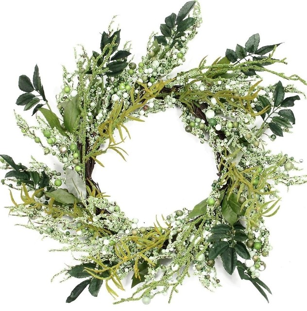 Multifarious Leaves 12 Spring Artificial Wreath Shades Of Green.