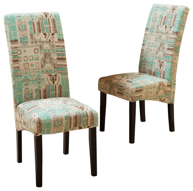 Gdfstudio india geometric fabric dining chairs set of 2 for Fabric dining room chairs