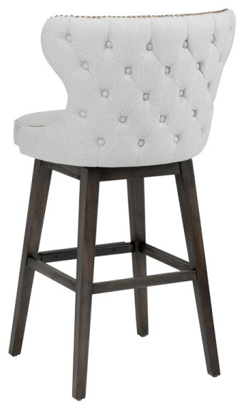 Tufted Back Swivel Stool With Brass Nail Head Trim